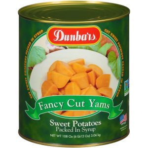Dunbars Fancy Cut Yams - Sweet Potatoes Packed in Syrup 108 Oz