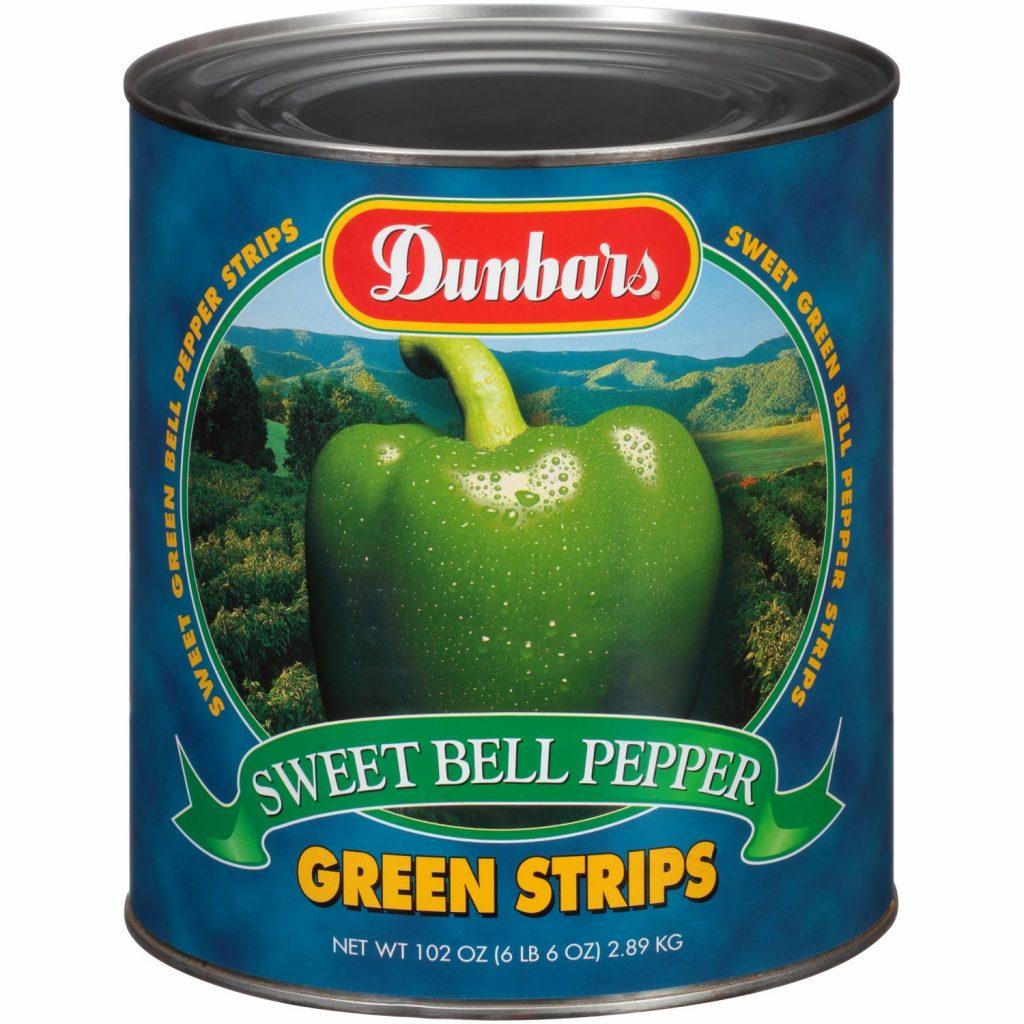 Dunbars Sweet Green Bell Pepper Strips 102 Oz