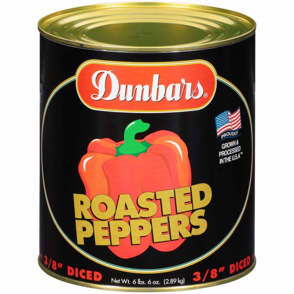 "Dunbars Roasted Peppers 3/8"" Diced"