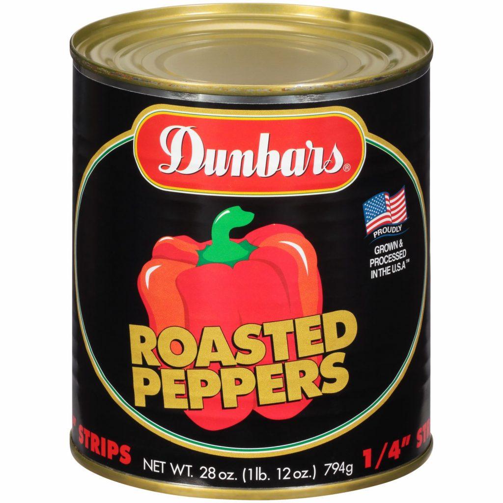"Dunbars Roasted Peppers 10/4"" Cut 28 Oz"