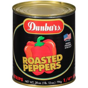 "Dunbars Roasted Peppers 10/4"" Cut 28 Oz"