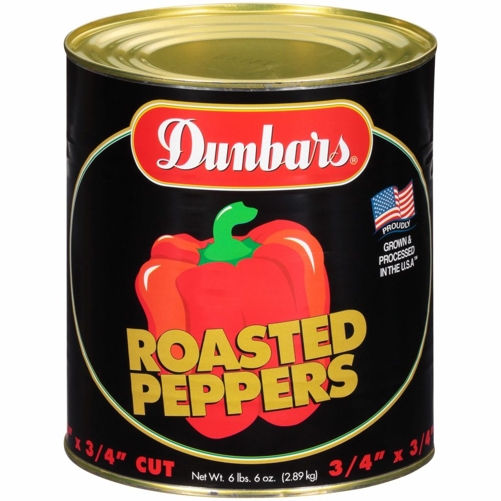 "Dunbars Roasted Peppers 3/4"" Cut"