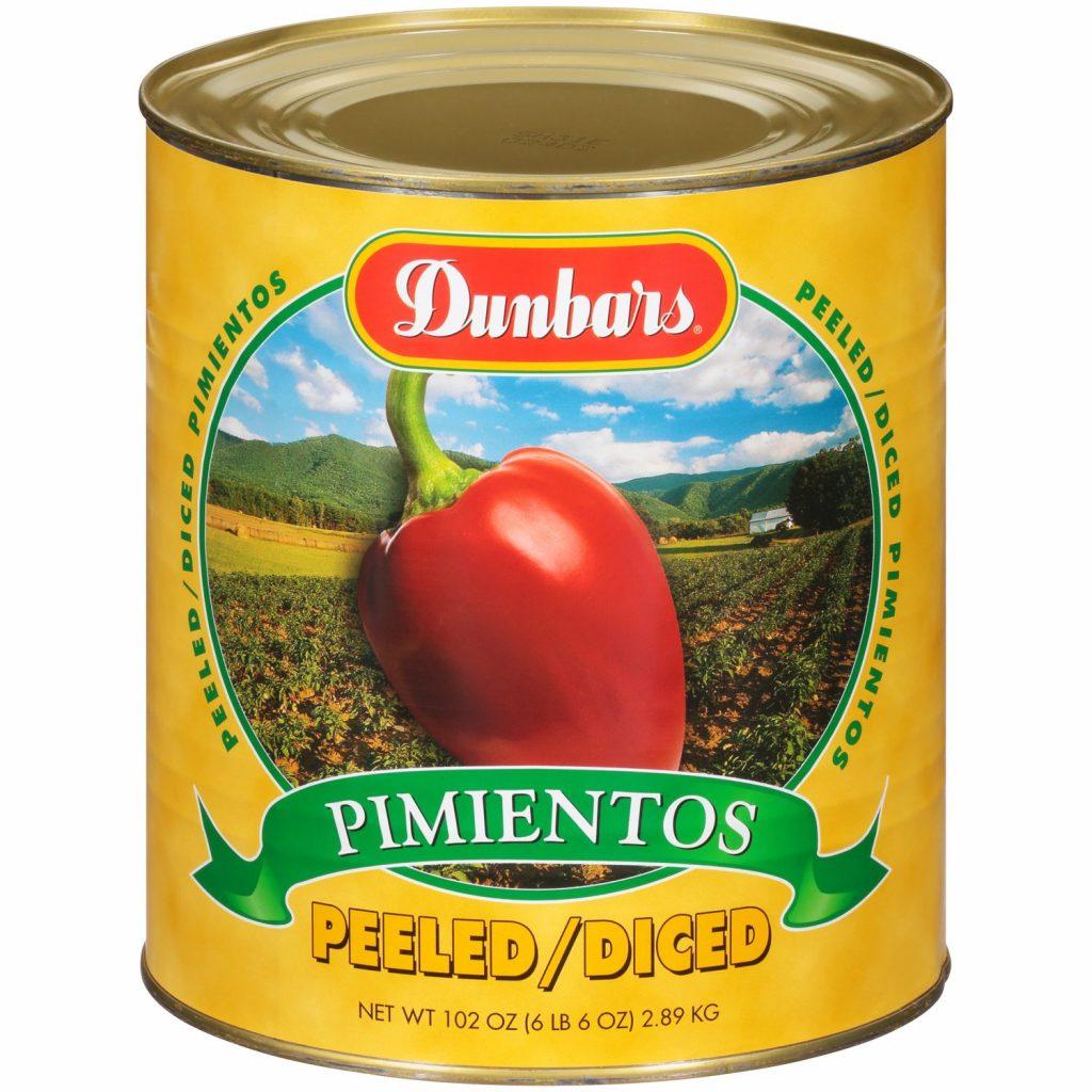 Dunbars Peeled Diced Pimientos 102 Oz