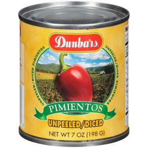 Dunbars Unpeeled Diced Pimientos 7 Oz