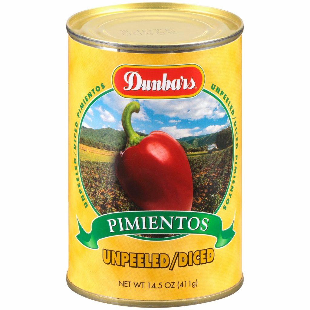 Dunbars Unpeeled Diced Pimientos 14.5 Oz