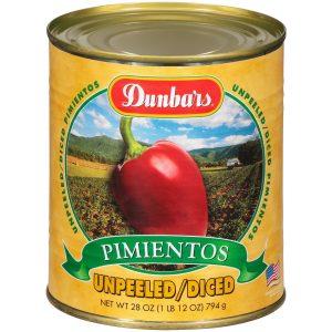 Dunbars Unpeeled Diced Pimientos 28 Oz