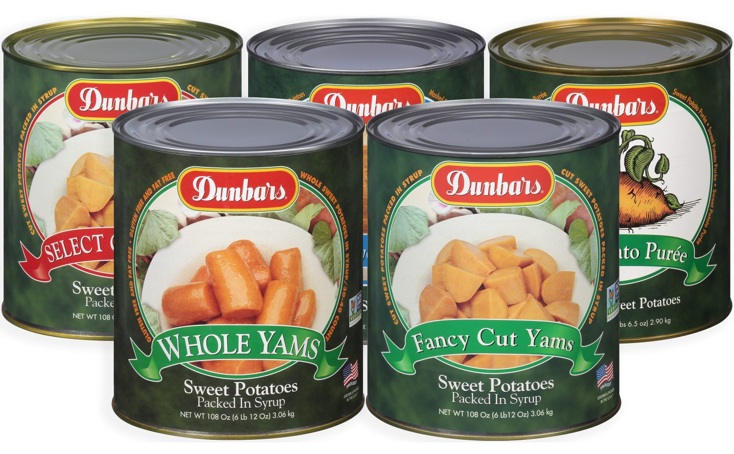 Dunbars Sweet Potatoes, #10 Cans, Fancy Cut Yams, Whole Yams, Select Cut Yams, Sweet Potato Puree