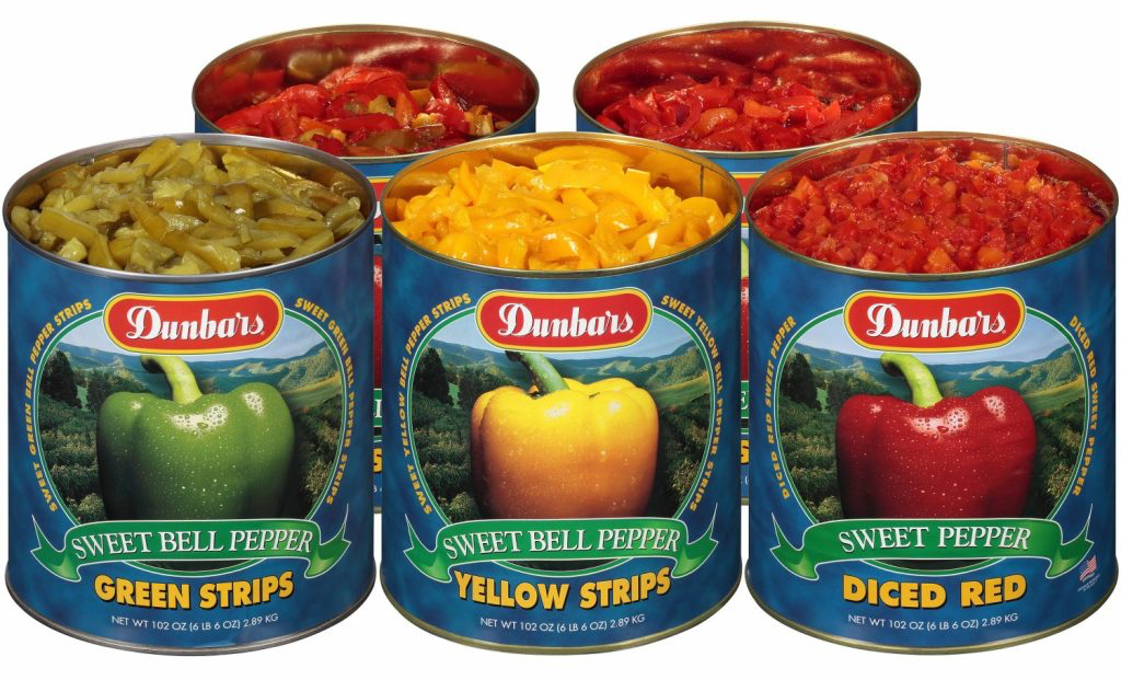 Dunbars Sweet Bell Pepper #10 Can Family Photo, yellow pepper strips, green pepper strips, diced red peppers