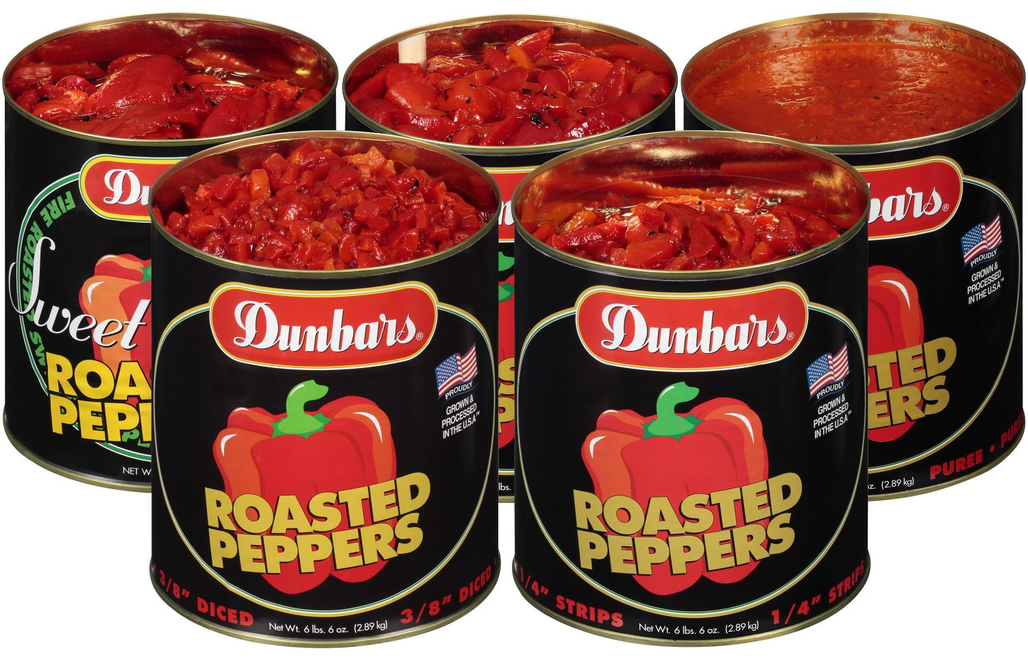 Dunbars Roasted Peppers #10 cans, Diced, Strips, Puree and Pieces
